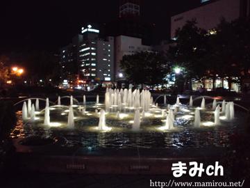 大通り公園 噴水のライトアップ